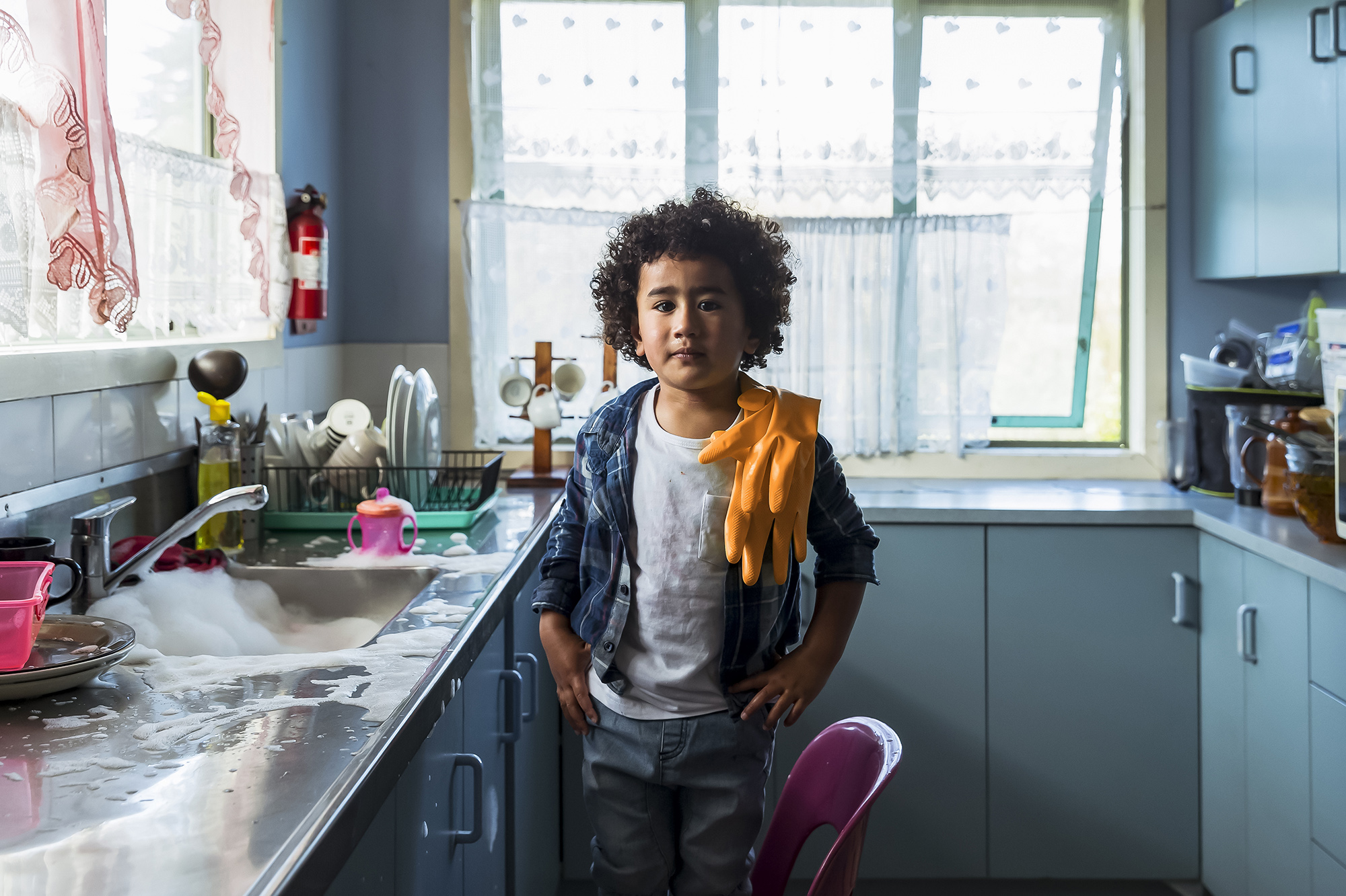 Vicki Leopold Photographer and Director, New Zealand kids in kitchen, Spark Advertising Campaign
